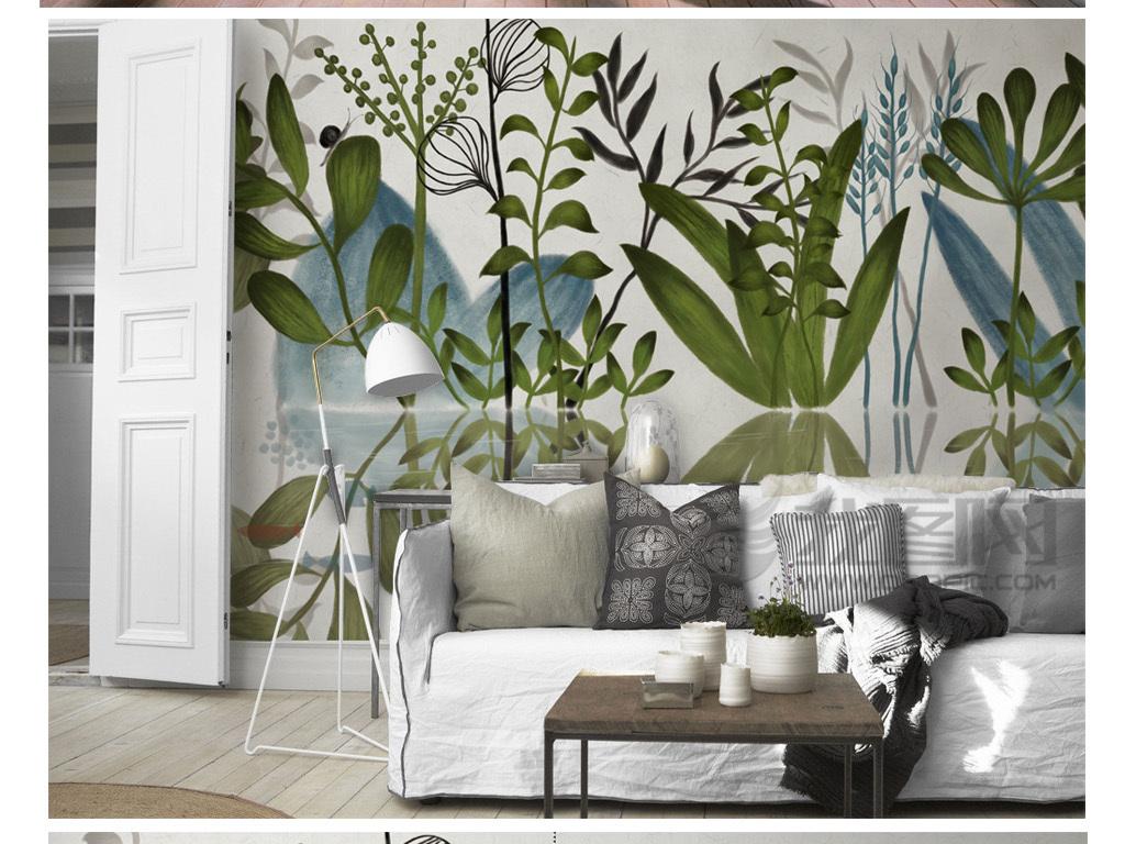 北欧现代手绘清新绿植背景墙装饰画(图片编号:)_手绘