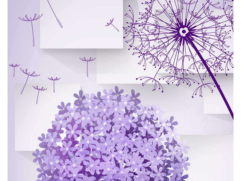 手绘花电视墙花藤花朵花卉家装壁画墙纸壁纸装饰画紫色蒲公英紫色背景
