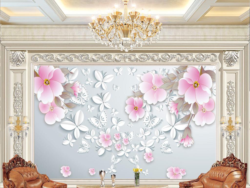 立体蝴蝶群手绘花朵电视客厅背景墙