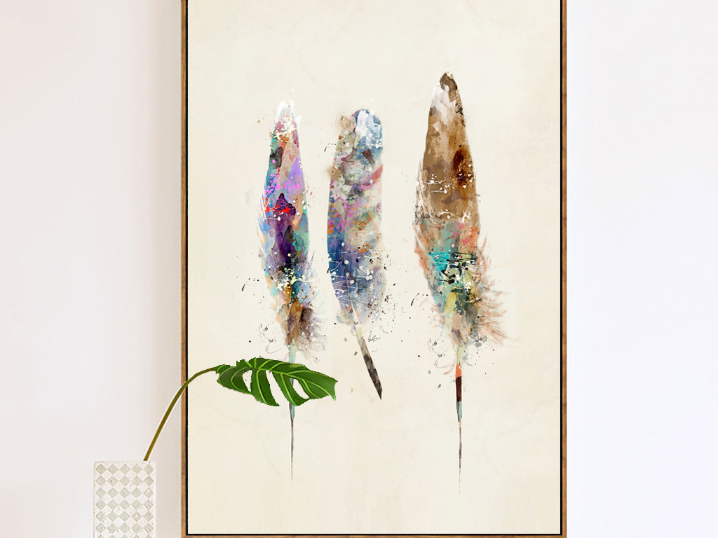 北欧式古典小清新手绘羽毛玄关装饰画