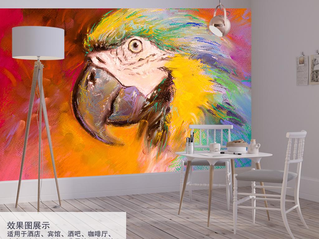 手绘高清鹦鹉背景墙装饰画