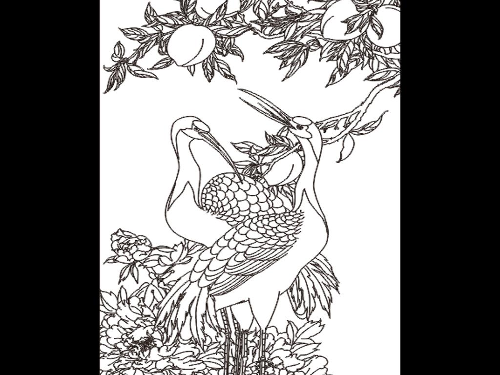 铅笔手绘仙鹤画