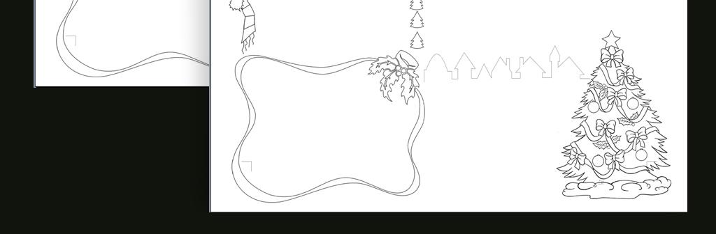 手抄报|小报 节日手抄报 圣诞节手抄报 > word黑白线描涂色手抄报圣诞