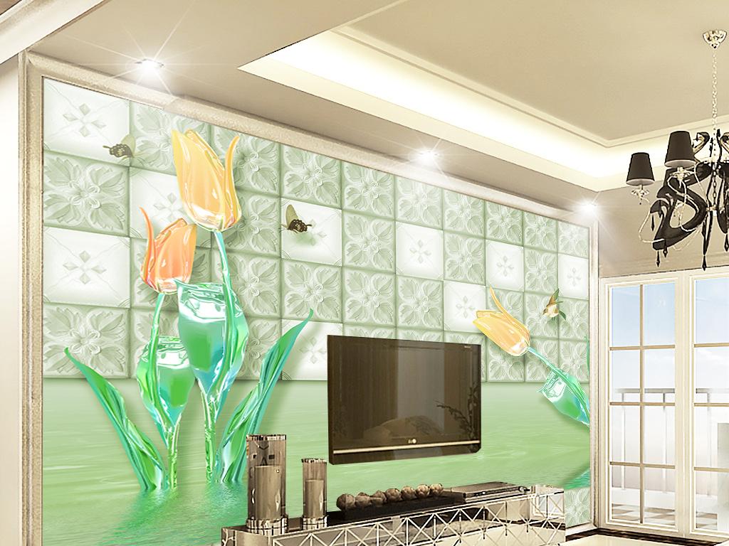 欧式轻奢琉璃水晶郁金香客厅电视背景墙图片