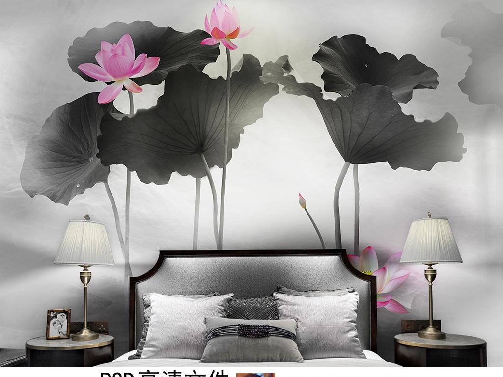 新中式水墨烟雾荷花背景墙壁画装饰画无框画图片