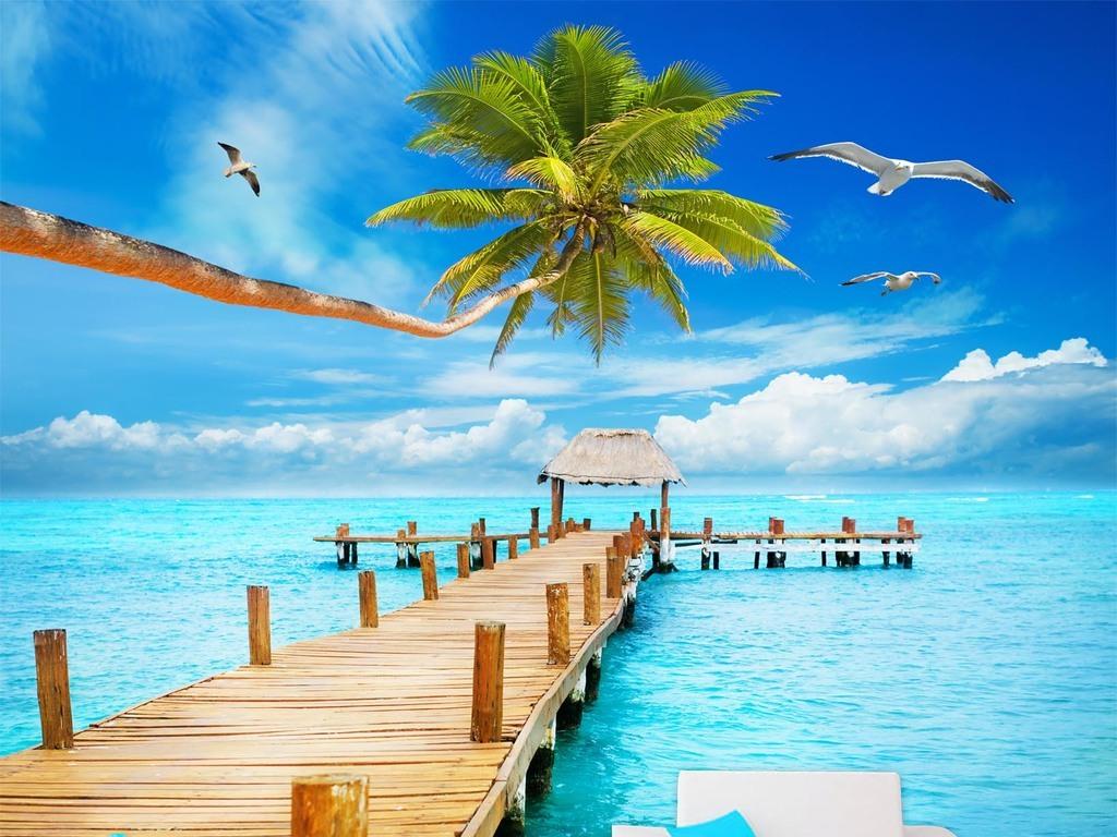 地中海长桥椰子树大海景色风景画电视背景墙