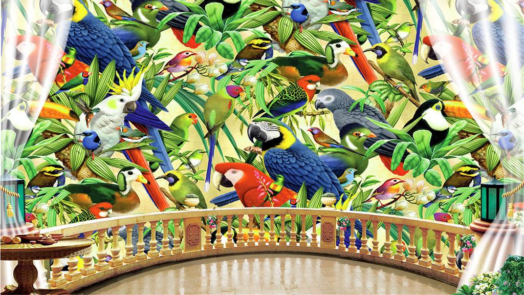 3d窗外鹦鹉热带雨林热带植物背景墙