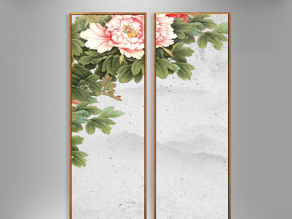玄关壁纸古风欧式山水中国画牡丹花中式中式牡丹中式牡丹花牡丹花装饰图片