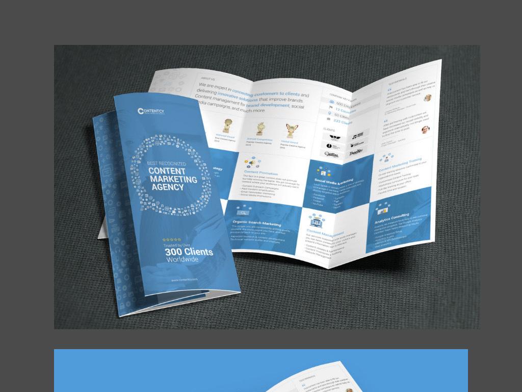 psd)简洁蓝色企业宣传三折页模版现代简洁