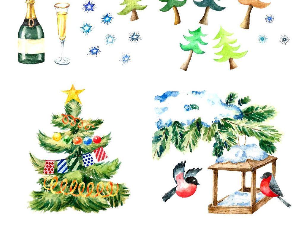 可爱的水彩圣诞贺卡psd模板