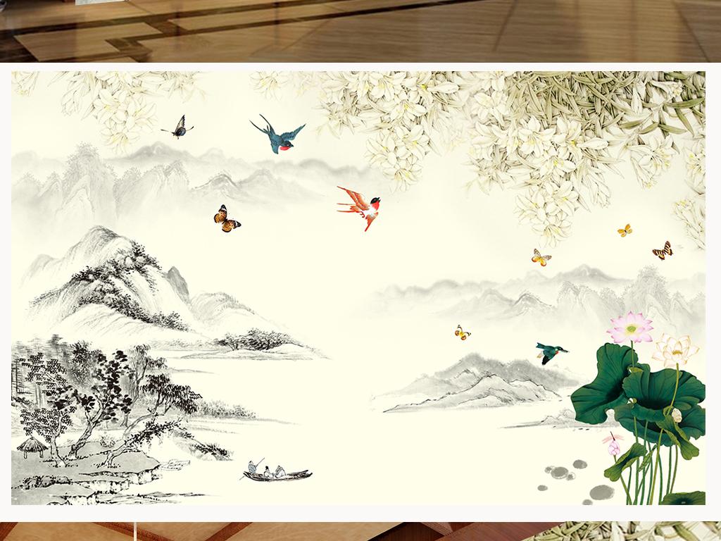 墙纸山水中式花鸟中式电视背景客厅中式山水山水背景花鸟背景简洁大气