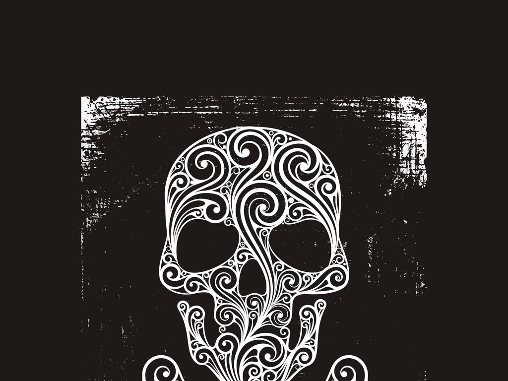 手绘恐怖骷髅头插画矢量素材骷髅元素插画设计素材