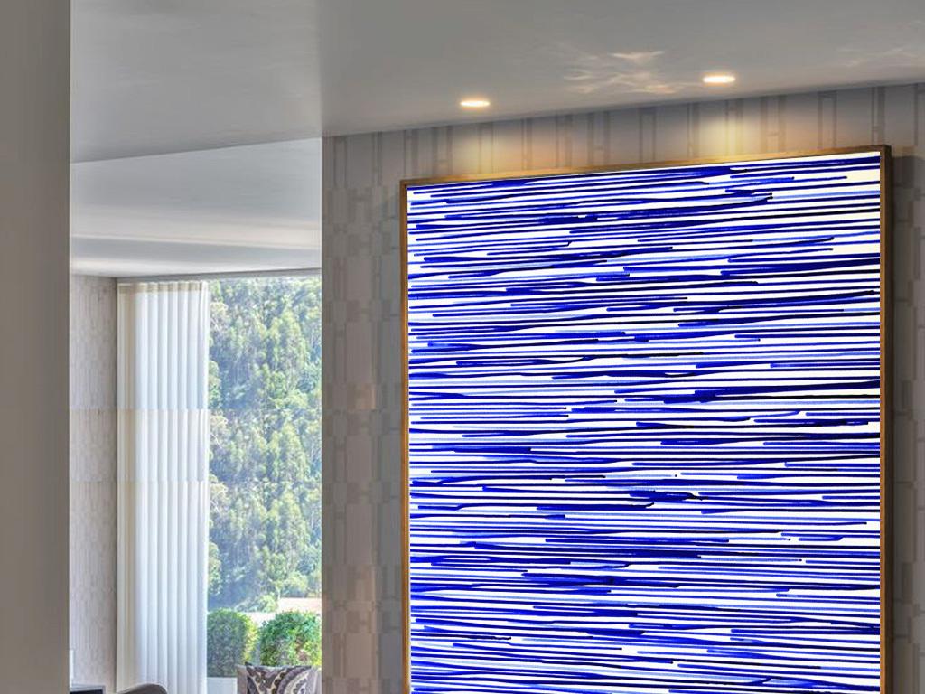 现代简约装饰画蓝色背景墙色彩线条抽象油画