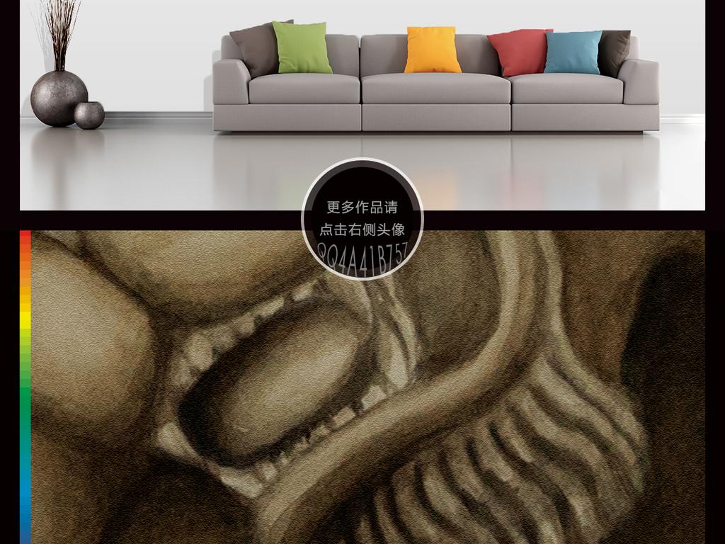 现代简约手绘高清狮子插画电视背景墙