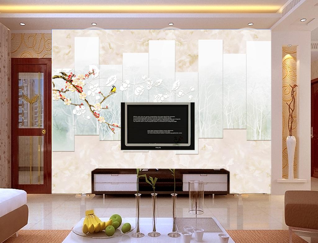 背景墙 电视背景墙 大理石背景墙 > 几何花鸟大理石底纹背景墙壁画
