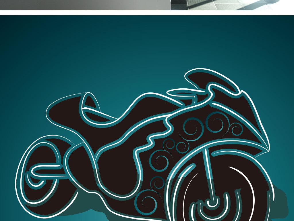 线稿人物摩托车插画设计元素