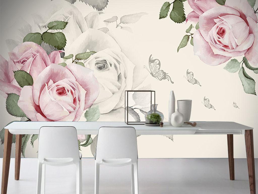 玫瑰花浪漫手绘北欧简约北欧风景北欧风格北欧无框画北欧装饰画北欧