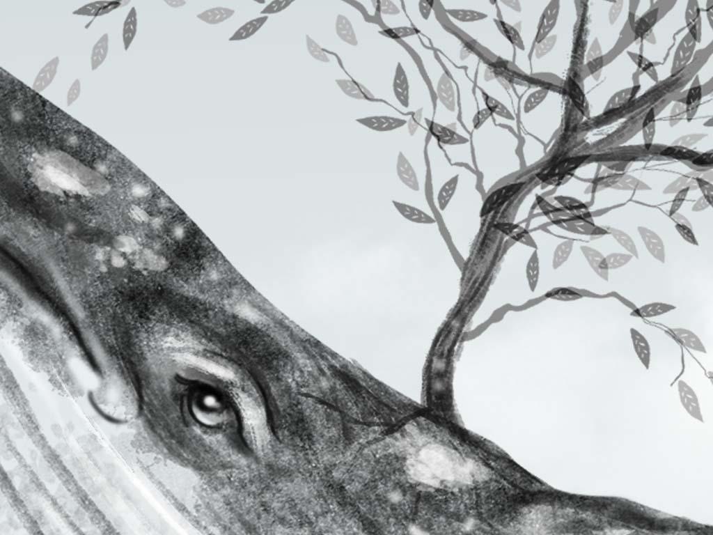 蓝鲸动物素雅清新手绘背景创意工装鲸鱼创意背景工装背景创意手绘装饰