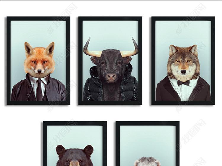 北欧简约美克美欧式动物无框画装饰画