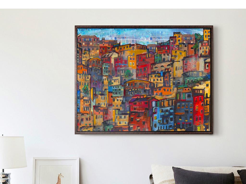 抽象手绘油画房子建筑风景背景墙