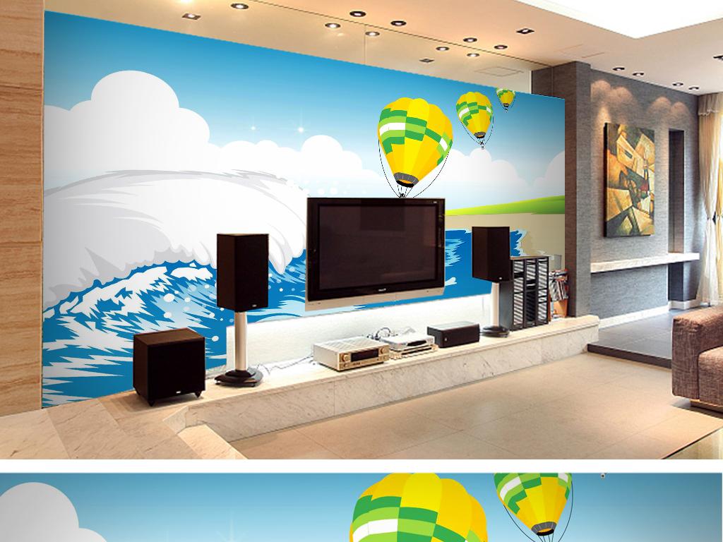 手绘矢量海浪电视背景墙客厅卧室壁纸设计