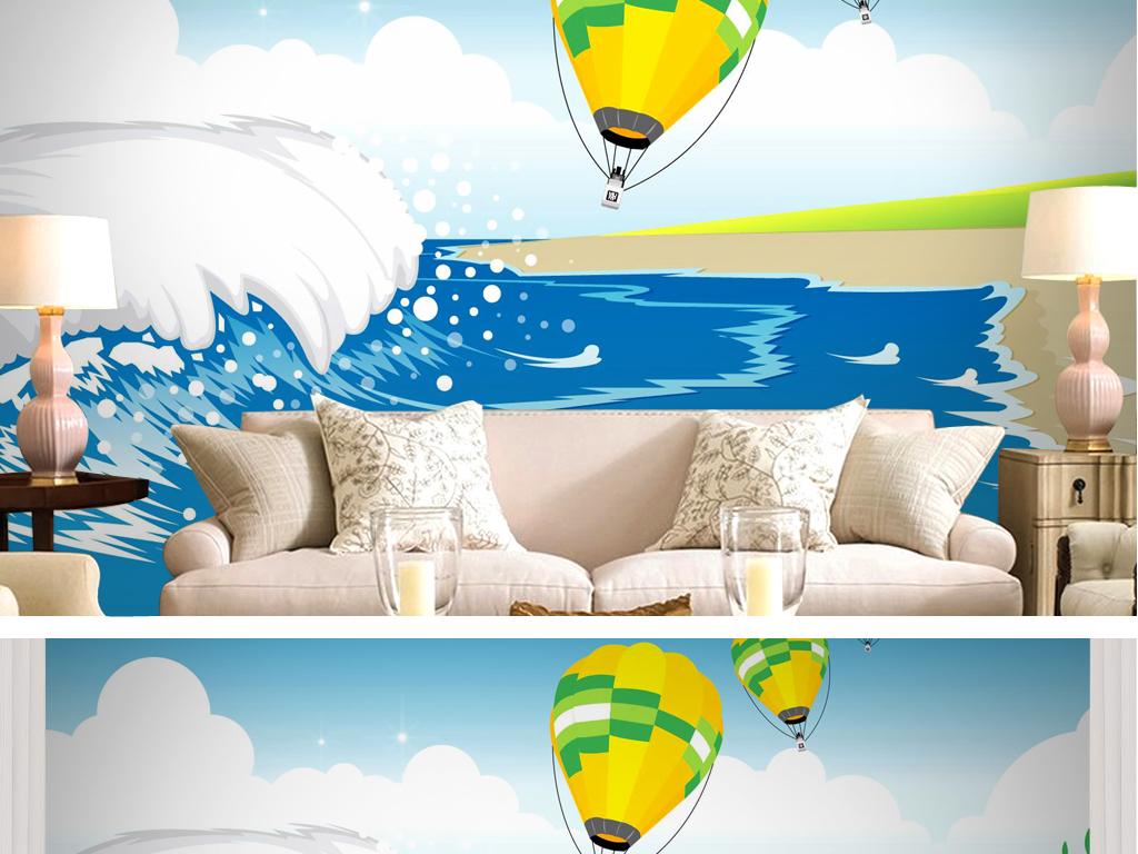 小清新手绘墙唯美海洋蓝色热气球海边沙滩浪花矢量风景优美天空自然美