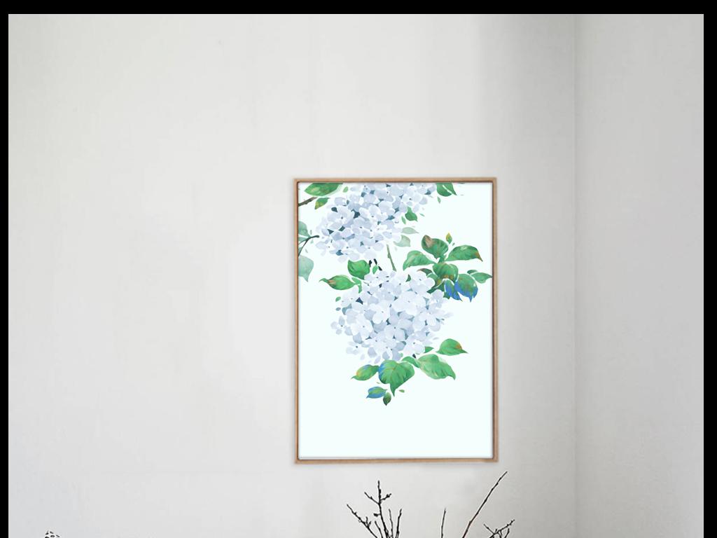 小清新水彩手绘风格简约装饰画