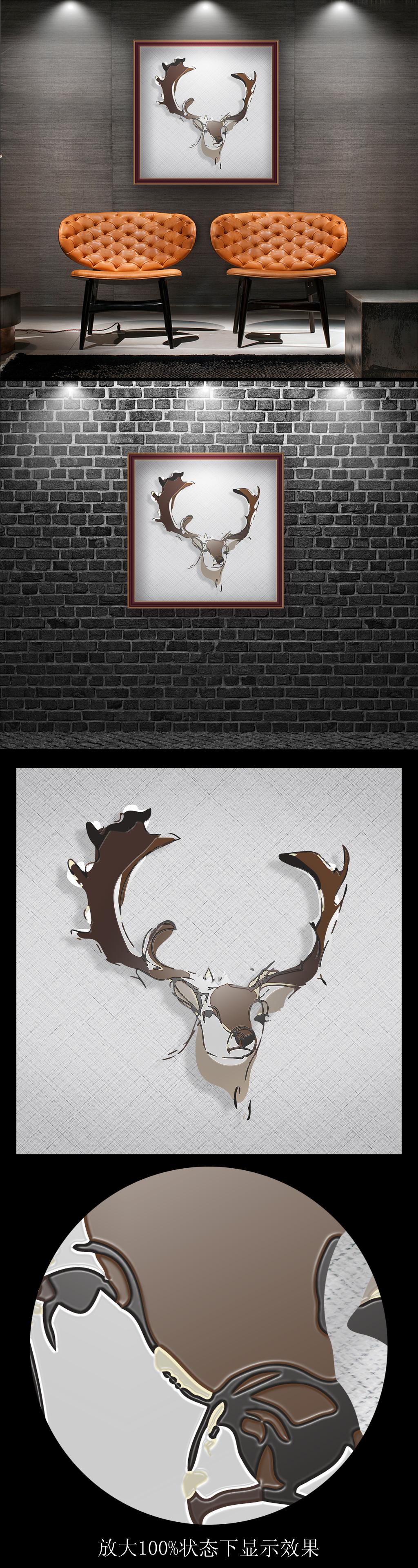 北欧简笔画鹿头无框画装饰画图片