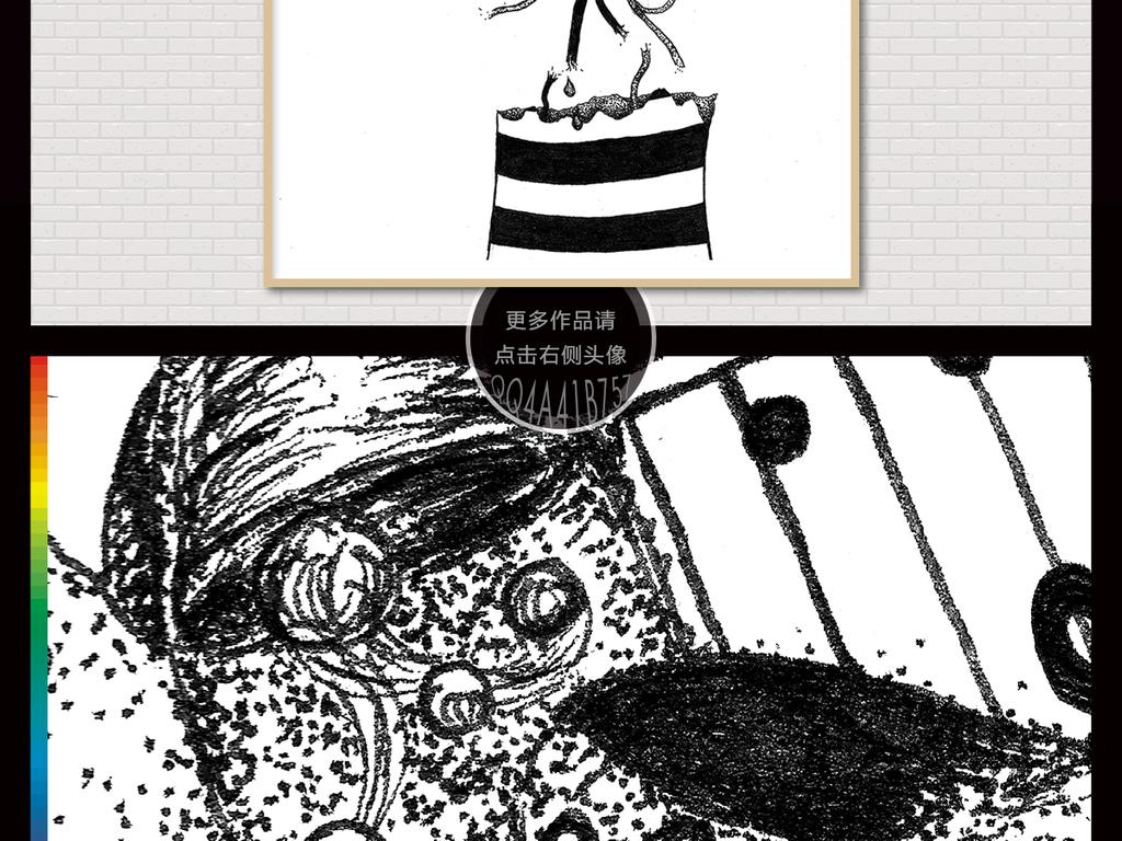 素描插画黑白老虎黑白手绘手绘插画简约手绘北欧现代