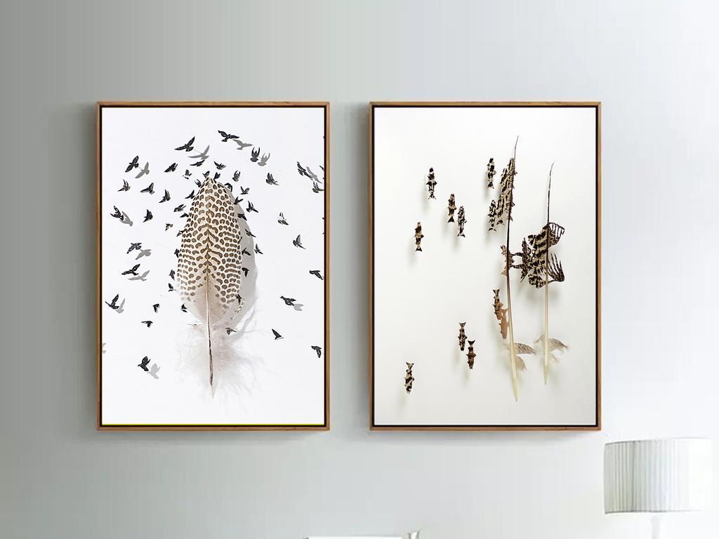 装饰画 无框画 动物图案无框画 > 北欧现代简约小清新创意羽毛立体