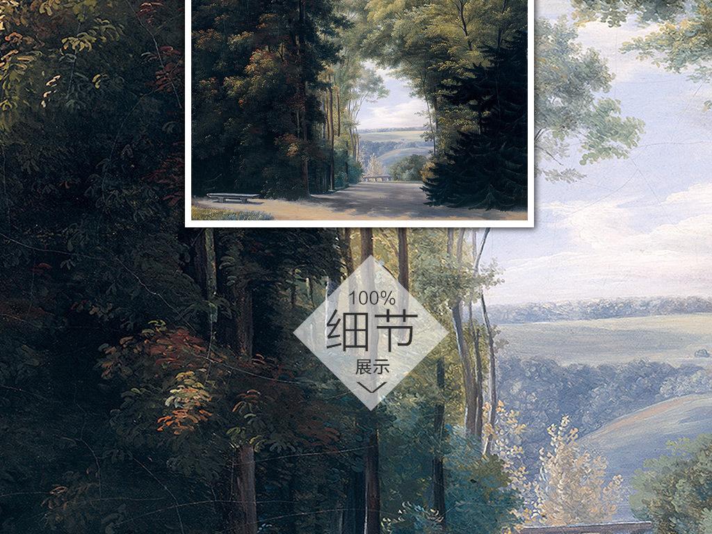 中世纪手绘森林小路风景背景墙壁画