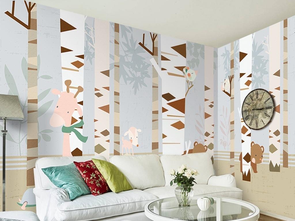 壁画白桦树林树林动物树林卡通背景卡通动物动物树林