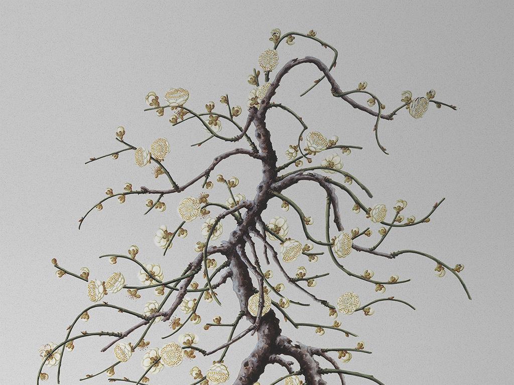 新中式梅花桃花手绘工笔树枝