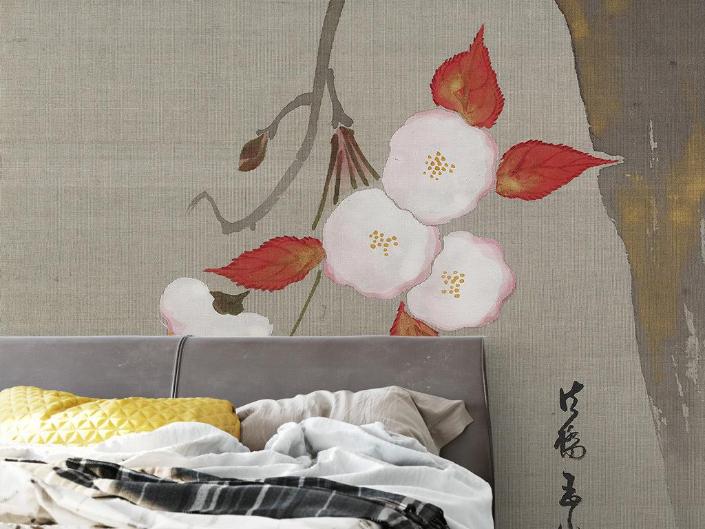 新中式手绘花树背景墙壁画