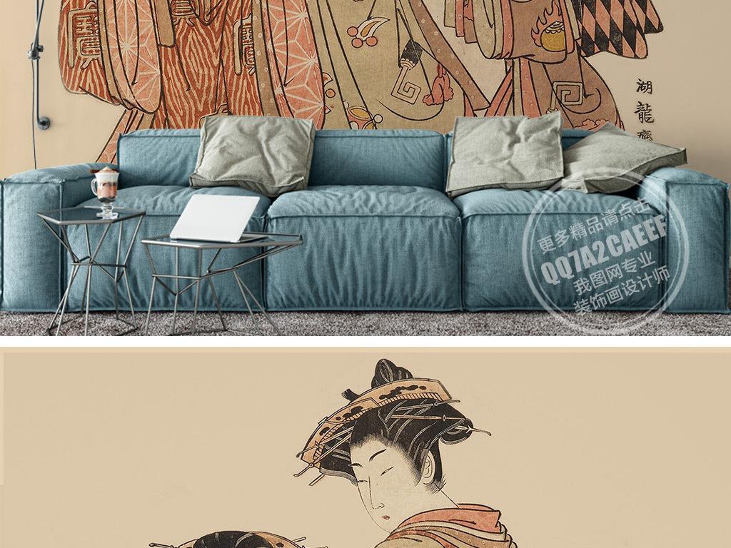 手绘古典日本美女背景墙壁画