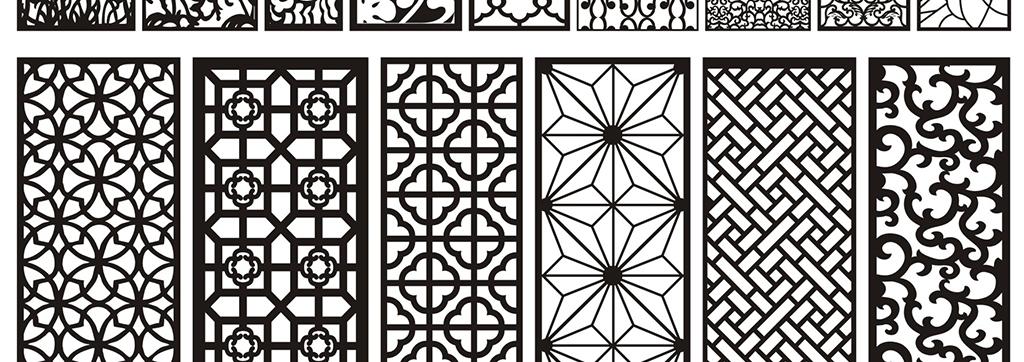 设计元素 其他 装饰图案 > 100款矢量欧式花纹玻璃移门中式雕花图案图片