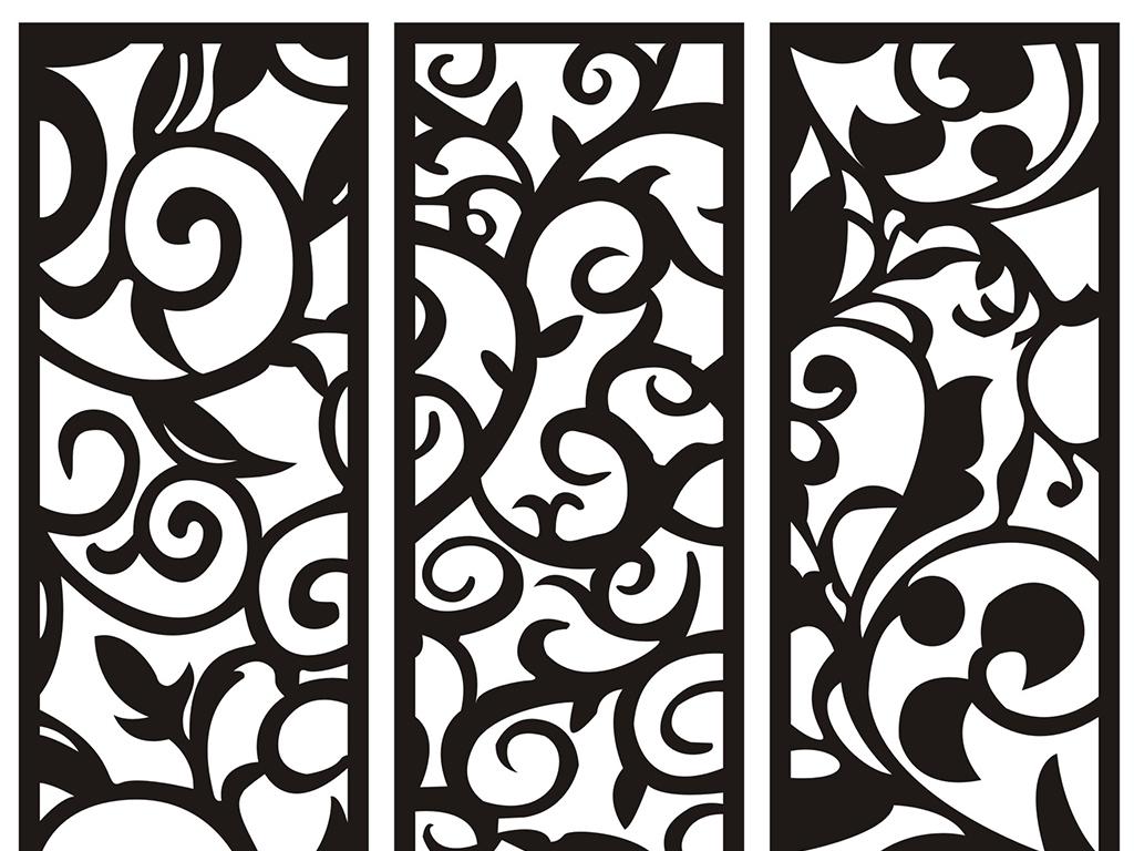 100款矢量欧式花纹玻璃移门中式雕花图案