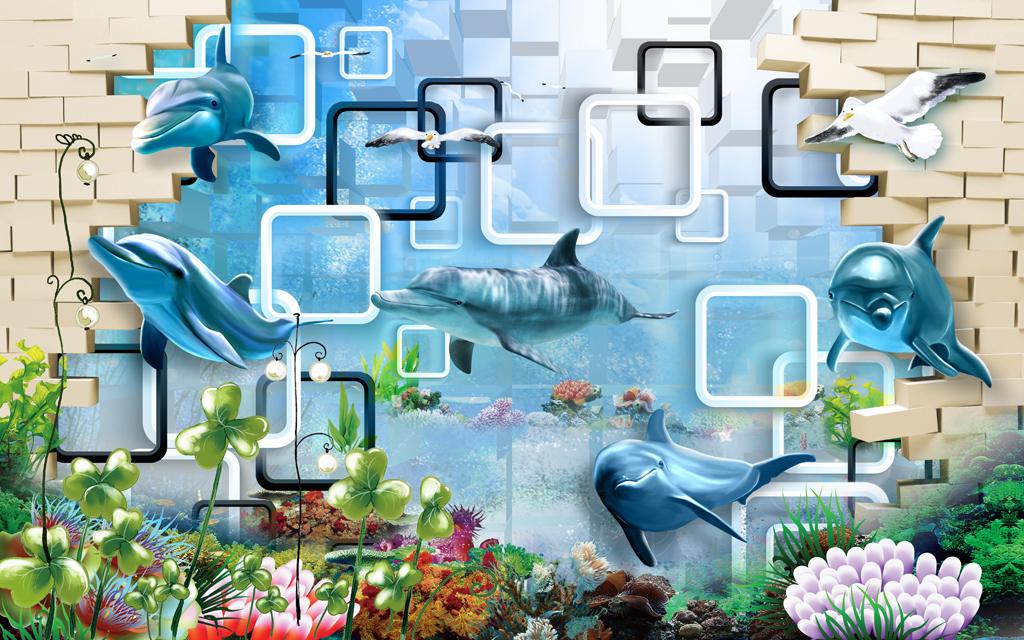 3d海底世界田园风格背景墙壁画