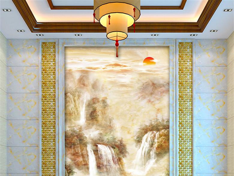 大理石山水流水生财玄关背景墙壁画