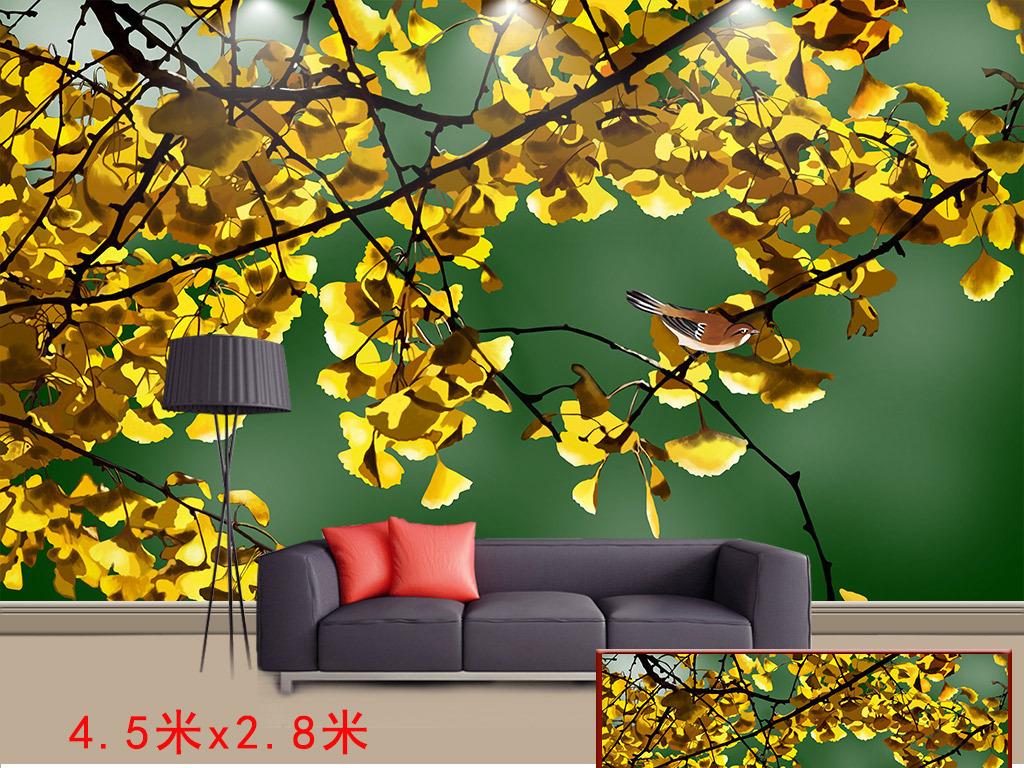 手绘秋意浓金色银杏树叶背景墙装饰画