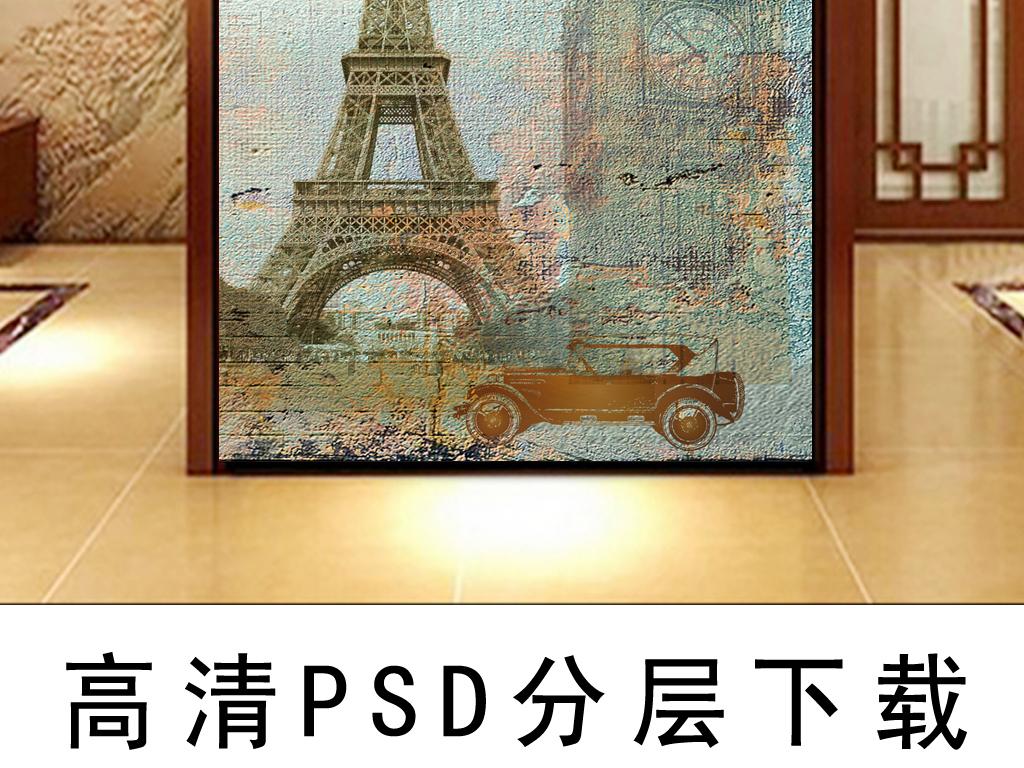欧式复古牡丹花铁塔玄关背景墙
