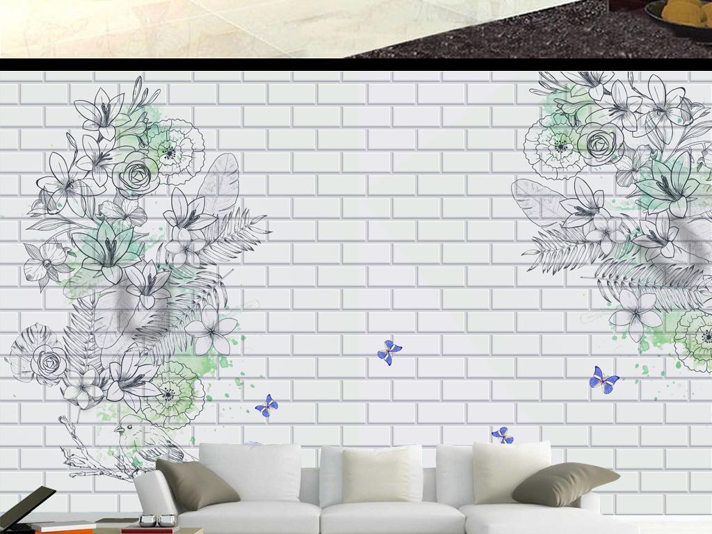 手绘简约花鸟墙面背景墙