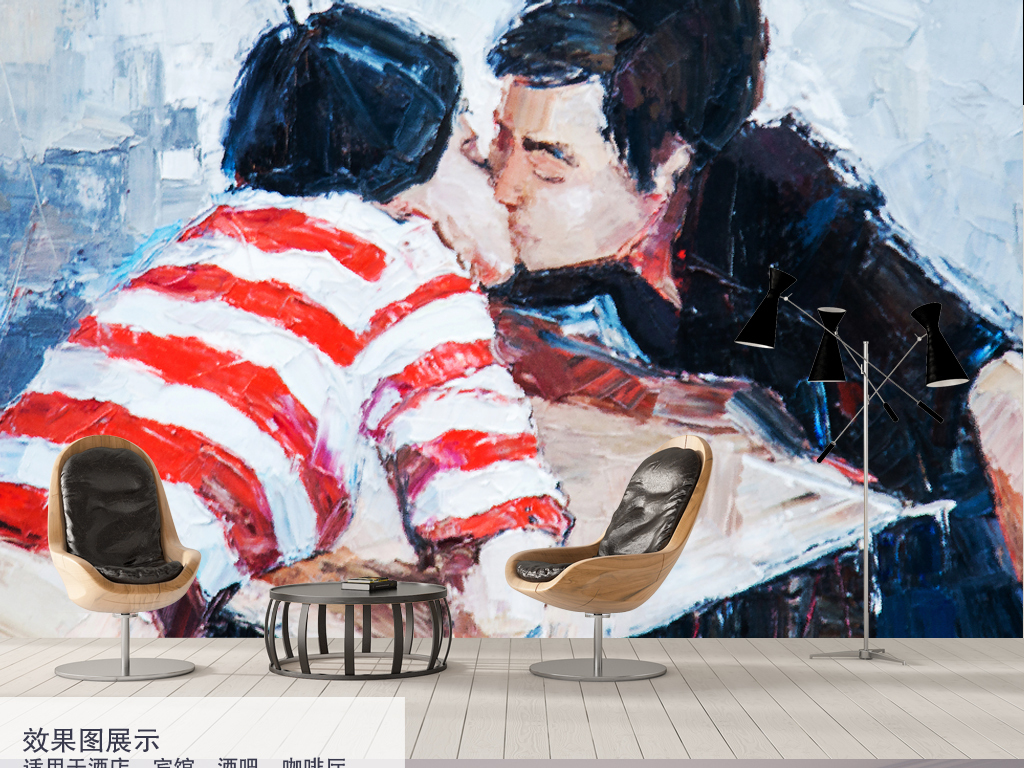 手绘人物复古背景情侣情侣装饰画情侣背景装饰画背景接吻情侣接吻装饰