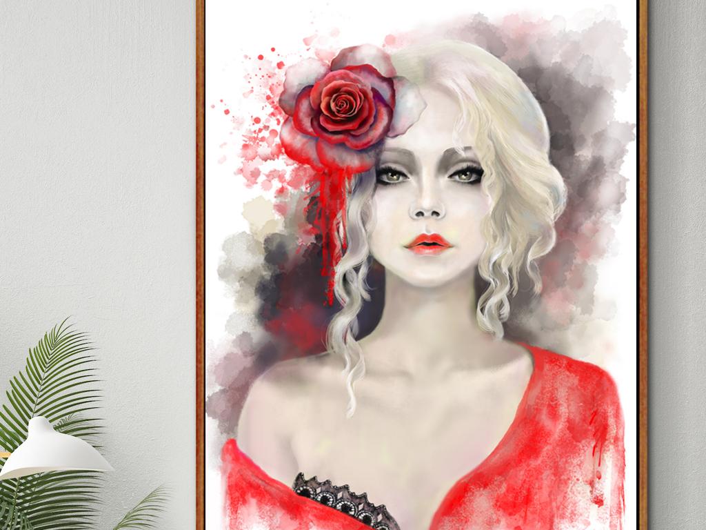 时尚美女人物手绘人物高清装饰画高清时尚装饰画时尚人物高清人物人物