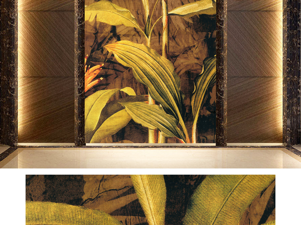 北欧风格芭蕉叶手绘背景玄关背景墙瓷砖欧式玄关背景墙牡丹玄关背景墙
