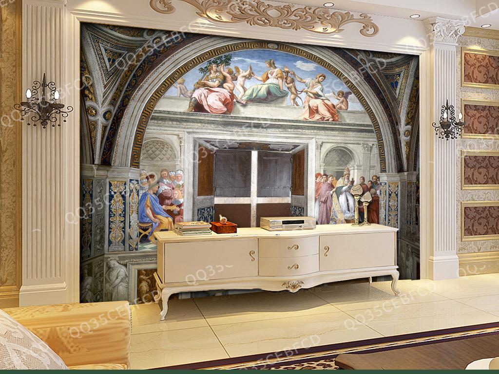 欧式古典宫殿油画图片