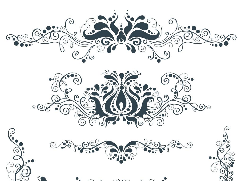 矢量欧式花纹边框花边装饰素材图片
