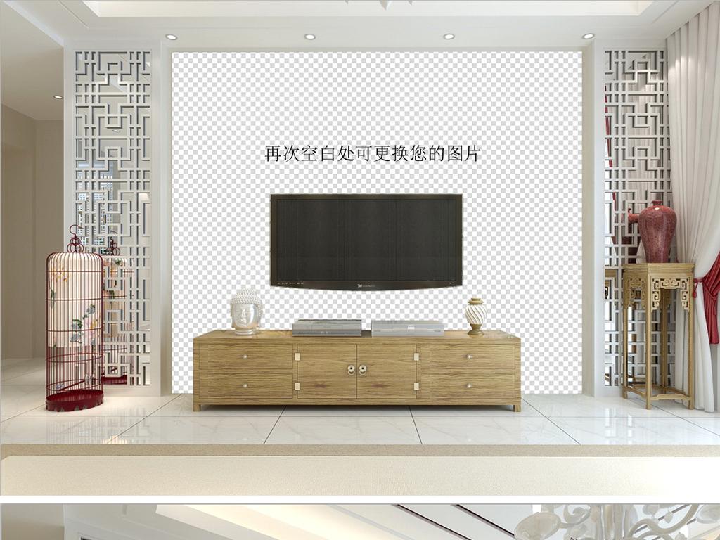 中式高清psd白色电视背景墙效果图样机