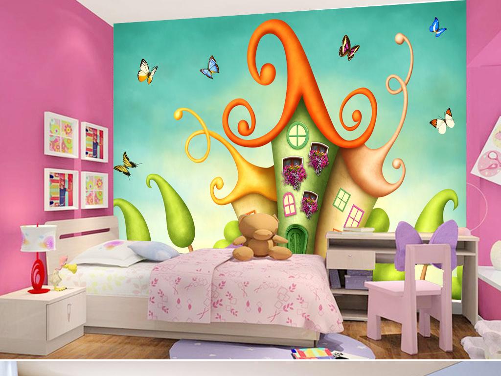 漫画彩色装饰画壁画壁纸卡通立体壁画3d立体壁画简约手绘卧室