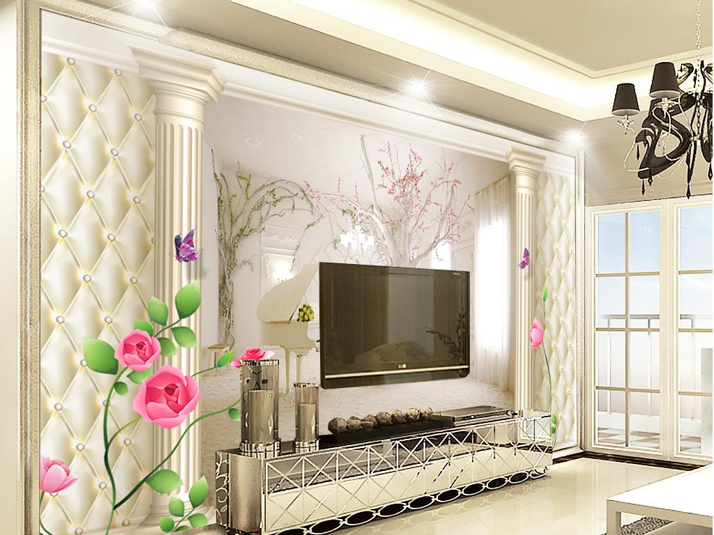 罗马柱浮雕花朵白色砖块大理石拱门工装酒店酒吧ktv